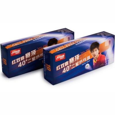 Мячи DHS CELL-FREE DUAL пластик 40+ мм бел. 2*(10 шт)